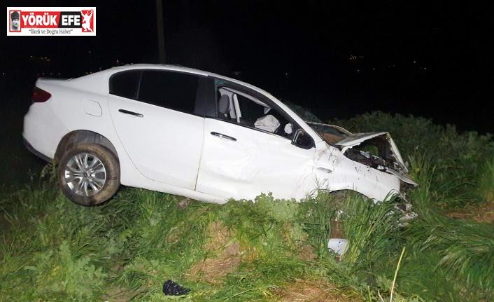 Bozdoğan'da otomobil şarampole devrildi