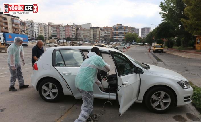 Efeler Belediyesi'nden servis araçlarına dezenfeksiyon