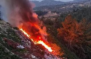Kuşadası'nda hafriyat döküm alanında yangın...