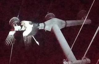 Elektrik tellerine takılan leylek yangına neden...